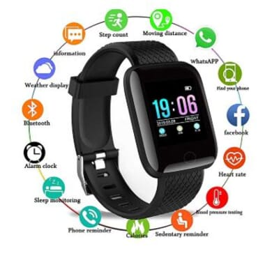 Generic Smart Watch Heart Rate Monitor Fitness Tracker Watch (Black)
