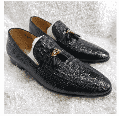 Italian Men's Croc Leather Tassel Loafer + A Free Happy Socks
