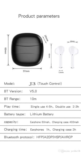J3 TWS Touch Control Earphone Bluetooth 5.0 Headphone Wireless Earbuds HD call smart noise cancelling Headsets Sports Ear buds W-01