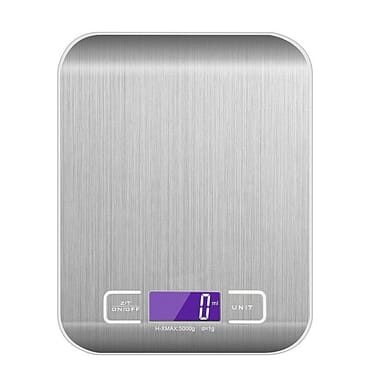 Generic Digital Kitchen Scale Multifunction Food Scale, Cooking Kitchen Scale 11 Lb 5 Kg, Silver, Stainless Steel (Batteries Included)