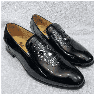Men's Patent Leather Exotic Loafer Shoe + A Free Happy Socks