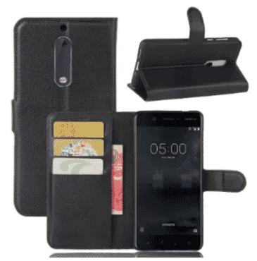 Leather Cover For Nokia 6 - Black