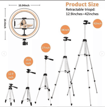 26CM Photography Lighting Phone Ringlight Tripod Stand Photo Led Selfie Bluetooth remote Ring Light Lamp TikTok Youtube Live