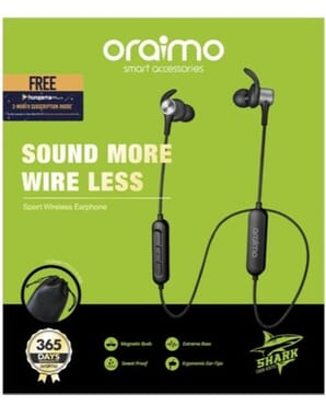 Oraimo Bluetooth 4.1 Wireless Headphones With Mic - Black