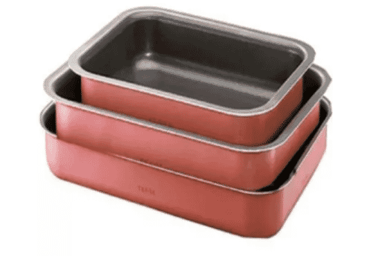 Tefal Rectangular Oven Dish - Set of 3 - Red - J1195682