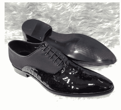 Italian Men's Patent Leather Oxford Shoe + A Free Happy Socks