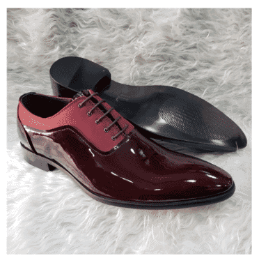 Men's Patent Leather oxford Loafer Shoe + A Free Happy Socks