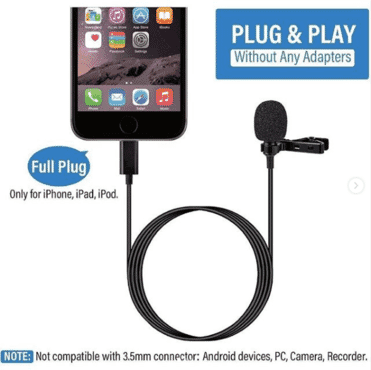 Iphone Clip Microphone Wired Mic Clip Condenser Microphone Lavalier microphone lighting mic for iPhone 11 X Xr Xs max 8 8plus 7 7plus 6 6s 6plus