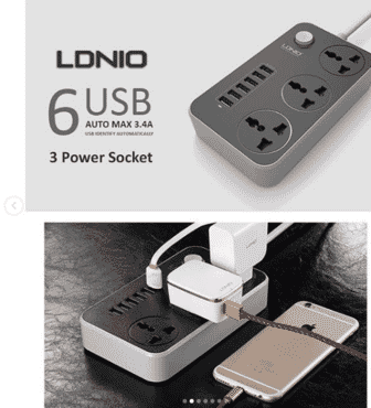 LDNIO SC3604 3.4A Power Socket with 3 AC + 6 USB Charger Adapter