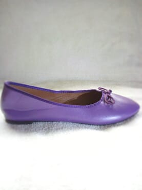 Primark Ladies Flat Leather Ballerina Pumps with Bow - Purple