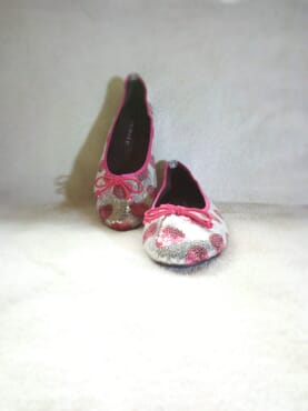 Primark Ladies Flat Sequin Ballerina Pumps with Bow - Pink/Silver