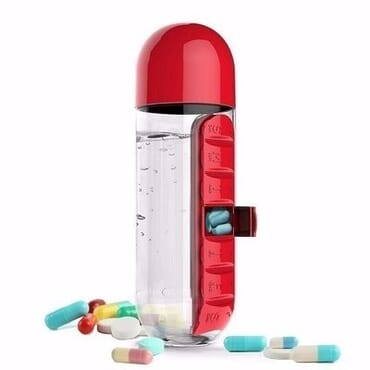 Pill Organizer & Water Bottle- Colour will be served randomly.