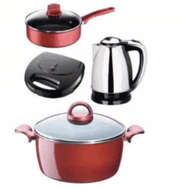 Tefal Kitchen Bundle - 24cm Sautce Pan + 22cm Pot + Toaster + Electric Jug