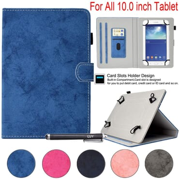 9-10.5 inch Universal Tablet Case, Newshine PU Leather Stand Cover for New iPad 9.7 2017/2018, Galaxy Tab S2/S3 9.7, Amazon Kindle Fire HD 10 and Other 9/9.7/10.1/10.5 inch Models, DC-Blue