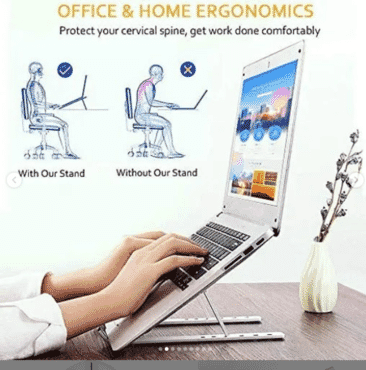 Aluminum Adjustable Laptop Computer Tablet Stand, Ergonomic Foldable Portable Desktop Holder for MacBook Air Pro, Dell XPS, HP, Lenovo 10-15.6