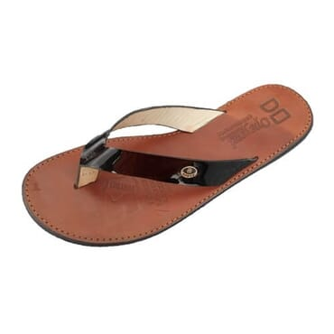 Nediva Men Black Leather Slippers | Brown Sole | SY1