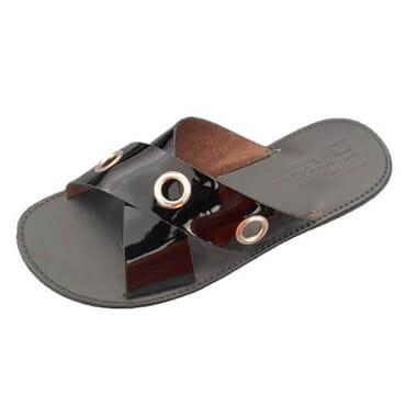 Nediva Men Black Leather Slippers | SY2
