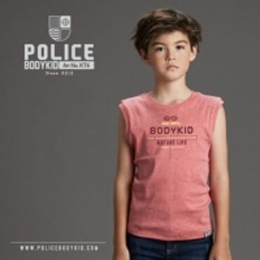 POLICE BODYKID RED PRINTED ARMLESS T-SHIRT KT.6