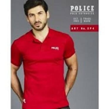 POLICE EXTRASIZE RED PRINTED SHORT SLEEVE T-SHIRT XP.4