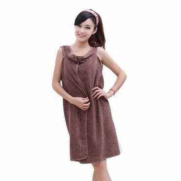 Female Body Wrap Bathrobe Towel - Brown