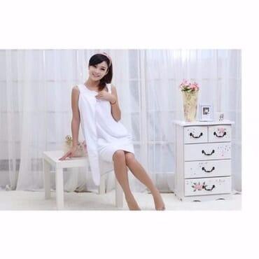 Female Body Wrap Bathrobe Towel - White