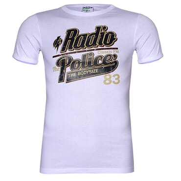 POLICE F.454 FREESIZE PRINTED WHITE MEDIUM SHORT SLEEVE T-SHIRT
