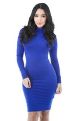 ROYAL BLUE TURTLE NECK LONG SLEEVE GOWN S---XL