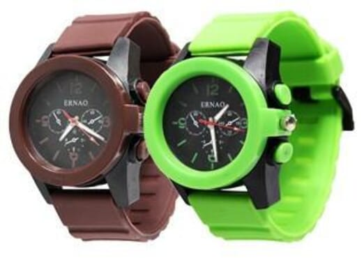 ERNAO 2 in 1 SILICONE STRAP UNISEX WRIST WATCH