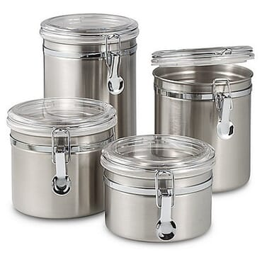 4 Pcs stainless steel canister set with acrylic lock