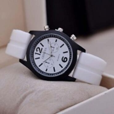 Geneva 9805 Silicone Unisex Wrist Watches - White