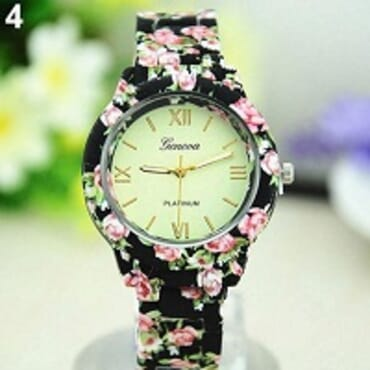 GENEVA 9700 BLACK CREAM FACE FLOWER WATCH