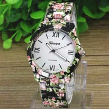 GENEVA 9700 BLACK FLOWER WATCH
