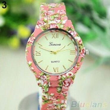 GENEVA 9700 PEACH FLOWER WATCH