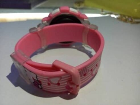 KID CARTOON PINK WRIST WATCH