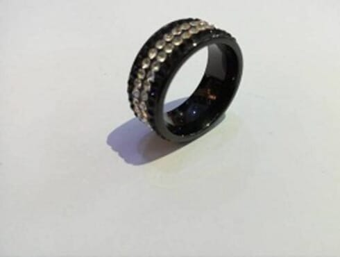BLACK MEN RING WITH STONE (SIZE 1)