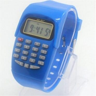 KID CALCULATOR BLUE SILICONE STRAP WATCH