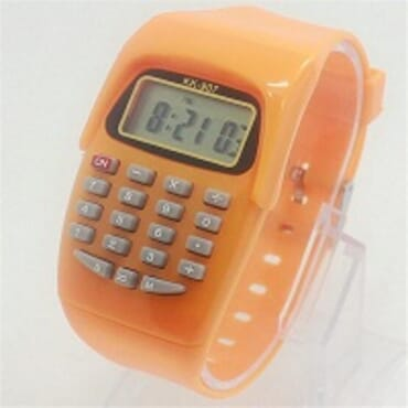 KID CALCULATOR ORANGE SILICONE STRAP WATCH