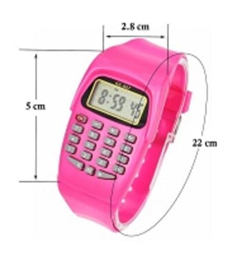 KID CALCULATOR PINK SILICONE STRAP WATCH