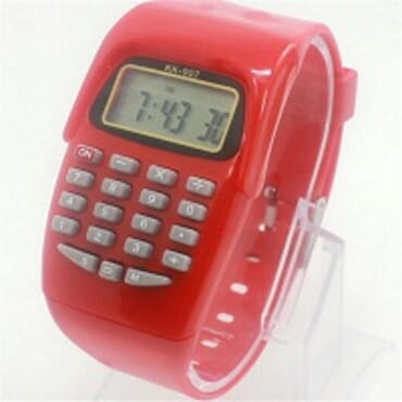 KID CALCULATOR RED SILICONE STRAP WATCH