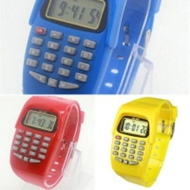 KID CALCULATOR 3IN1 BLUE/RED/YELLOW SILICONE STRAP WATCH