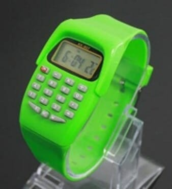 KID CALCULATOR GREEN SILICONE STRAP WATCH