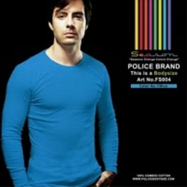 POLICE FS.004 FREESIZE PLAIN LITE BLUE MEDIUM LONG SLEEVE T-SHIRT
