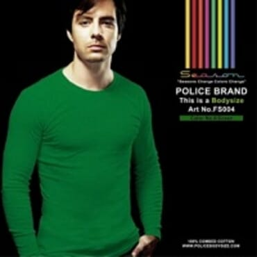 POLICE FS.004 FREESIZE PLAIN GREEN MEDIUM LONG SLEEVE T-SHIRT
