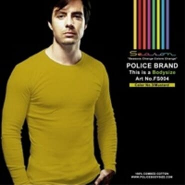 POLICE FS.004 FREESIZE PLAIN MUSTARD MEDIUM LONG SLEEVE T-SHIRT