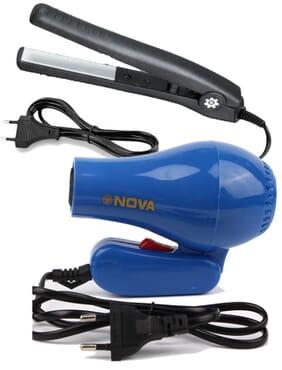 Nova Foldable Blue Hair Dryer & Universal Hair Curler/Straightener