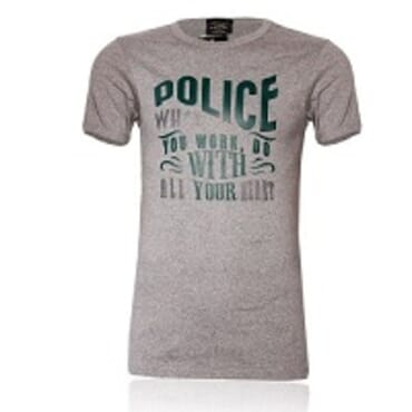 POLICE B.347 BIGSIZE GREY LARGE PRINTED SHORT SLEEVE T-SHIRT