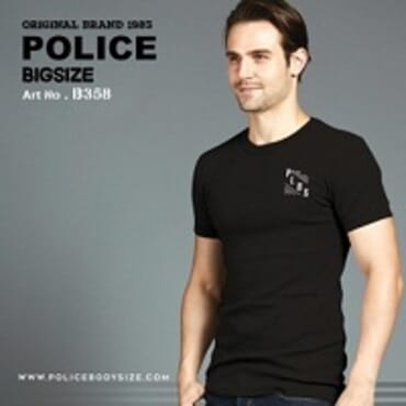 POLICE B.358 LARGE BLACK PRINTED SHORT SLEEVE T-SHIRT