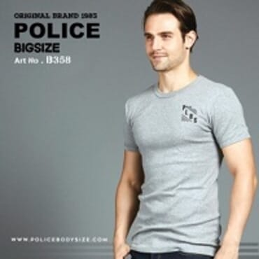 POLICE B.358 LARGE GREY PRINTED SHORT SLEEVE T-SHIRT