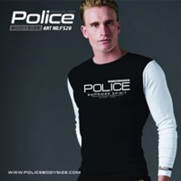 POLICE F.528 FREESIZE BLACK MEDIUM PRINTED LONG SLEEVE T-SHIRT