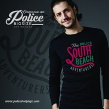 POLICE B.348 BIGSIZE BLACK LARGE PRINTED LONG SLEEVE T-SHIRT